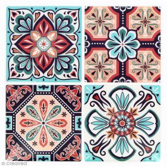 Stickers Mosaïque - Carré - Rouge et turquoise - 12 x 12 cm - 4 pcs