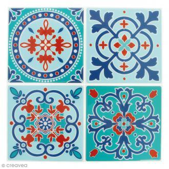 Stickers Mosaïque - Carré - Bleu ciel et orangé - 12 x 12 cm - 4 pcs