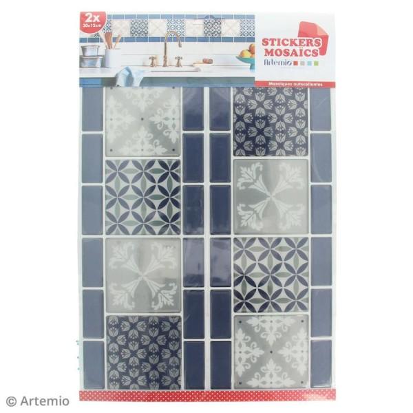 Stickers Mosaïque - Frise - Bleu et gris - 30 x 12 cm - 2 pcs - Photo n°2