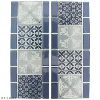 Stickers Mosaïque - Frise - Bleu et gris - 30 x 12 cm - 2 pcs