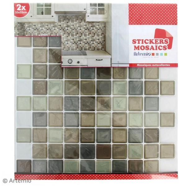 Stickers Mosaïque - Petits carrés - Tons marrons - 25 x 25 cm - 2 pcs - Photo n°2