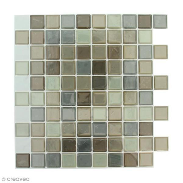 Stickers Mosaïque - Petits carrés - Tons marrons - 25 x 25 cm - 2 pcs - Photo n°1