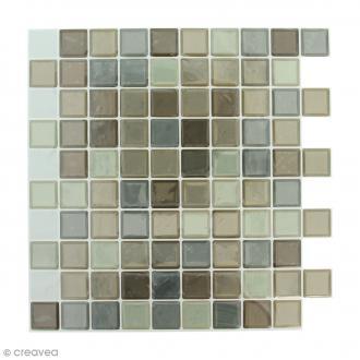 Stickers Mosaïque - Petits carrés - Tons marrons - 25 x 25 cm - 2 pcs