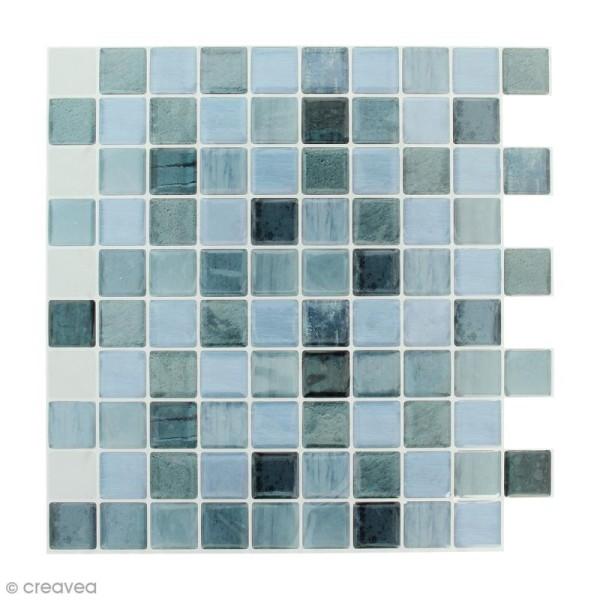 Stickers Mosaïque - Petits carrés - Bleu - 25 x 25 cm - 2 pcs - Photo n°1