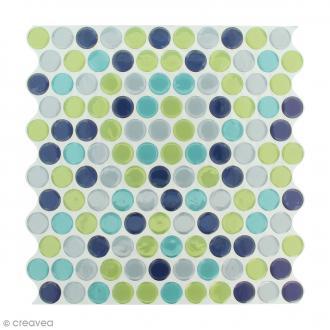 Stickers Mosaïque - Petits ronds - Bleu, vert et gris - 25 x 25 cm - 2 pcs