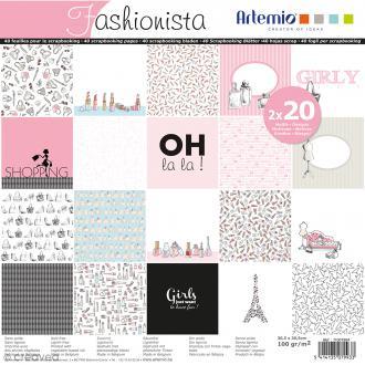 Papier Scrapbooking Artemio - Fashionista - Set de 40 Pages de 30,5 x 30,5 cm