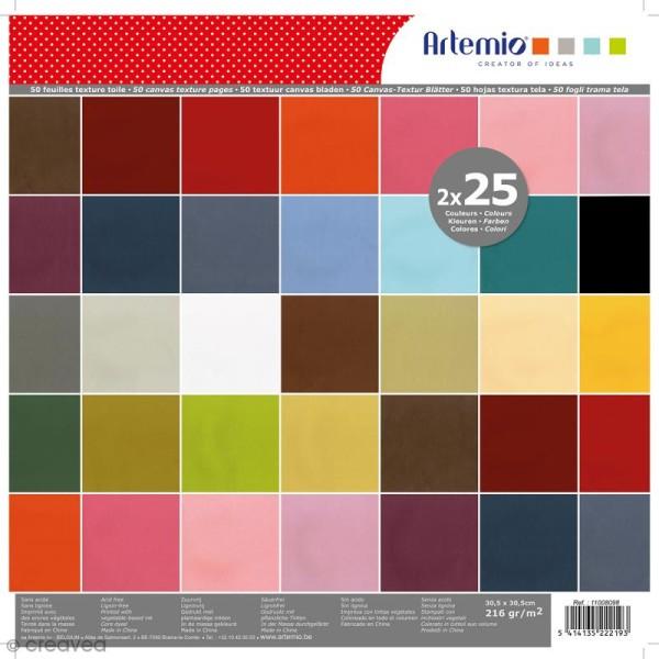Papier Scrapbooking Artemio - Texture toile - Set de 50 Feuilles de 30,5 x 30,5 cm - Photo n°1