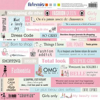 Stickers Fashionista - 1 planche de 30,5 x 30,5 cm - 45 pcs