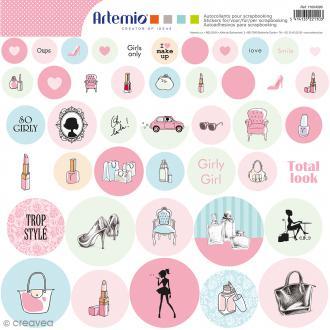 Stickers ronds - Fashionista - 1 planche de 30,5 x 30,5 cm - 44 pcs