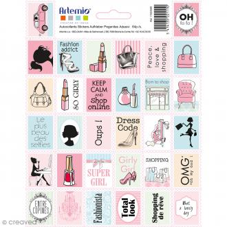 Stickers timbre décoratif - Fashionista - 2,6 x 3,4 cm - 32 pcs