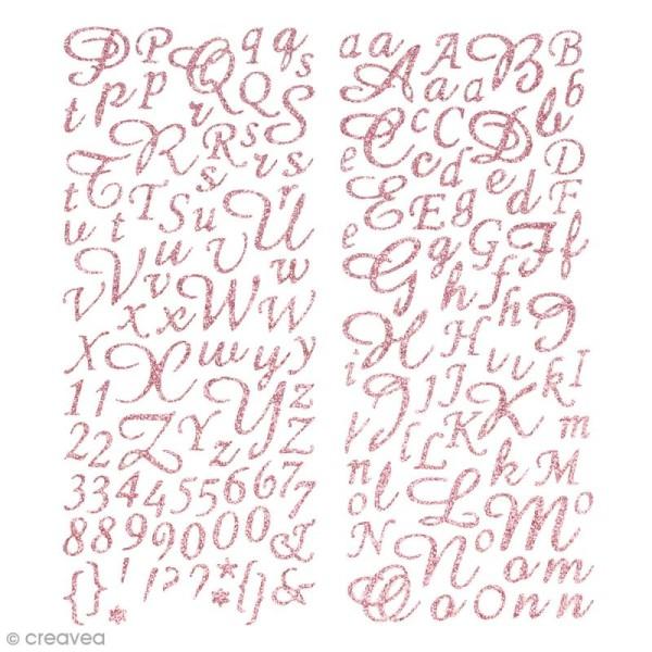Stickers alphabet scrapbooking - Rose pailleté - 177 pcs - Photo n°1