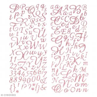 Stickers alphabet scrapbooking - Rose pailleté - 177 pcs