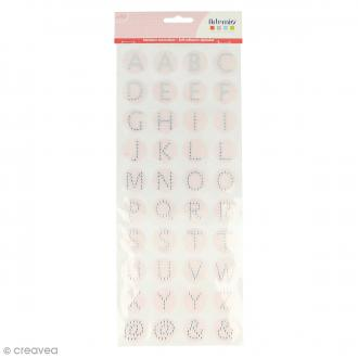 Stickers alphabet ronds - Rose clair pailleté - Lettres strass - 40 pcs