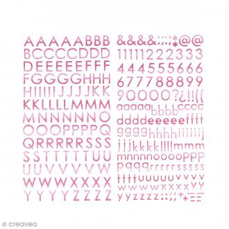 Stickers alphabet - Glitter kiss me - Rose pailleté - 283 pcs environ