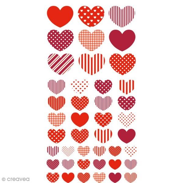 Stickers Puffies - Coeurs Lollipop - Rouge - 43 pcs - Photo n°1