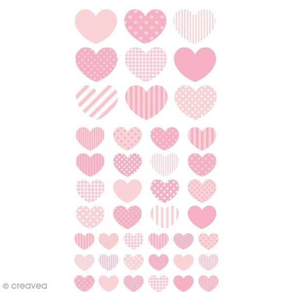 Stickers Puffies - Coeurs Lollipop - Rose - 43 pcs - Photo n°1