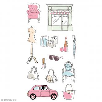Stickers Puffies - Fashionista Shopping - Rose, blanc et bleu - 13 pcs