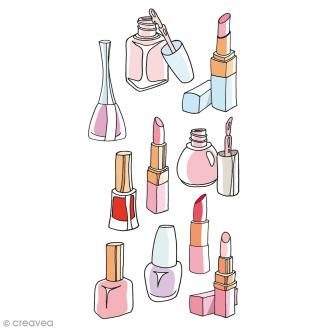Stickers Puffies - Fashionista Maquillage - Rose, rouge et bleu - 10 pcs