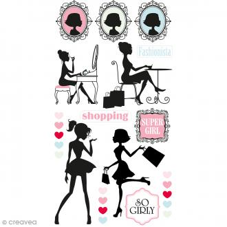 Stickers Puffies - Fashionista Silhouettes - Rose, blanc et bleu - 25 pcs