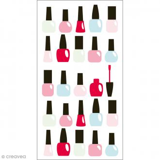 Stickers Epoxy - Fashionista Vernis - Rose, rouge, vert et bleu - 25 pcs