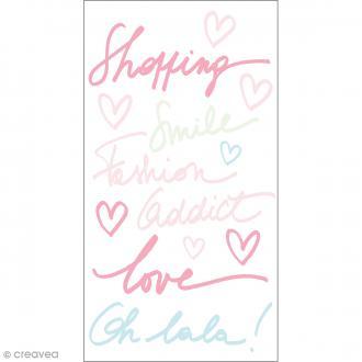 Stickers Epoxy - Fashionista Oh la la - Rose, bleu et vert - 12 pcs