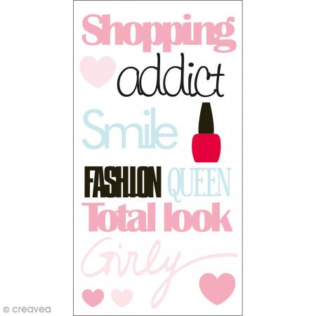 Stickers Epoxy - Fashionista Shopping addict - Rose, bleu et vert - 12 pcs - Photo n°1
