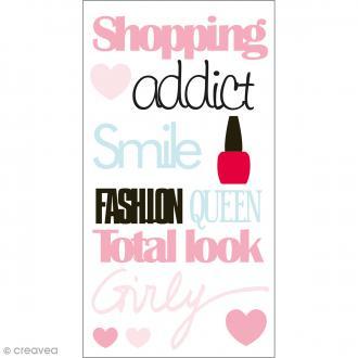 Stickers Epoxy - Fashionista Shopping addict - Rose, bleu et vert - 12 pcs
