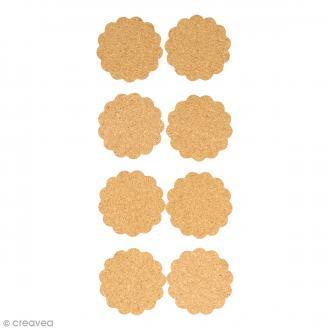 Stickers en liège - Ronds festonnés - 8 pcs
