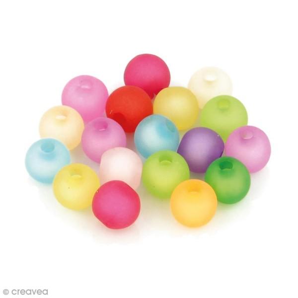 Perles Rondes colorées givre - 8 mm - 120 pcs environ - Photo n°1