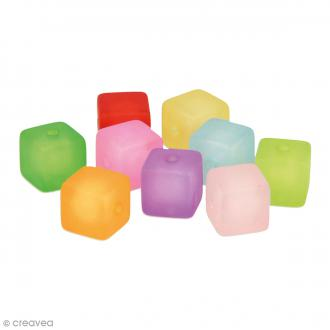 Perles Cubes colorées givre - 11 mm - 22 pcs