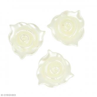 Perles blanc ivoire - Fleurs - 13 mm - 60 pcs environ