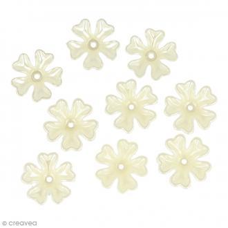 Perles blanc ivoire - Fleurs - 17 mm - 60 pcs environ