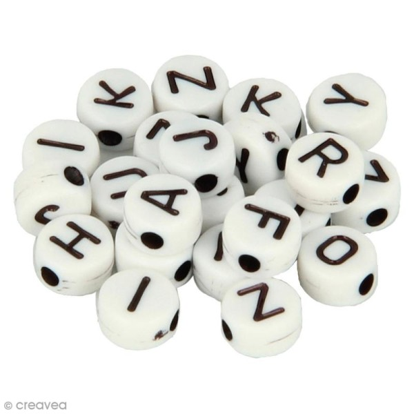Perles alphabet Rondes - Blanc et noir - 6 mm - 300 pcs environ - Photo n°1