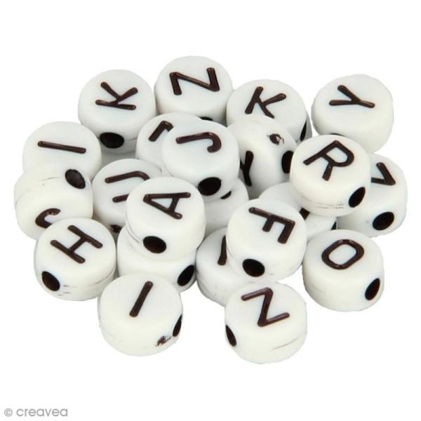 Perles alphabet Rondes - Blanc et noir - 7 mm - 300 pcs environ - Photo n°1
