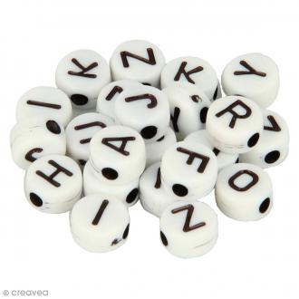 Perles alphabet Rondes - Blanc et noir - 7 mm - 300 pcs environ