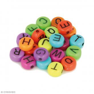Perles alphabet Rondes - Multicolore à écriture noir - 7 mm - 300 pcs environ