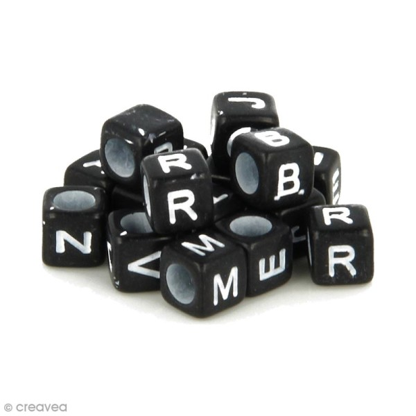 Perles alphabet Cubes - Noir et blanc - 6 mm - 300 pcs environ - Photo n°1