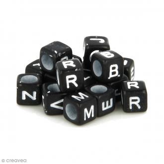 Perles alphabet Cubes - Noir et blanc - 6 mm - 300 pcs environ