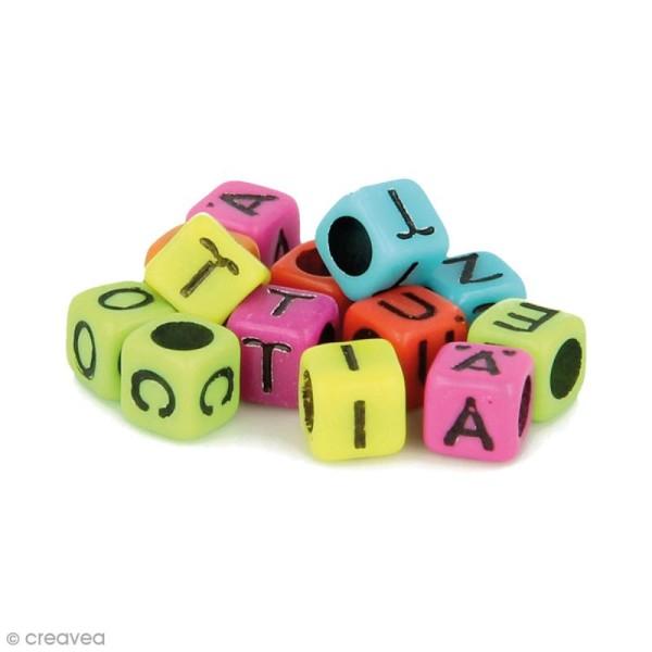 Perles alphabet Cubes - Multicolore - 6 mm - 300 pcs environ - Photo n°1