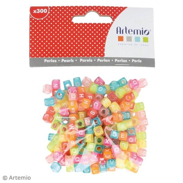 Perles alphabet Cubes - Multicolore effet givre - 6 mm - 300 pcs environ - Photo n°2