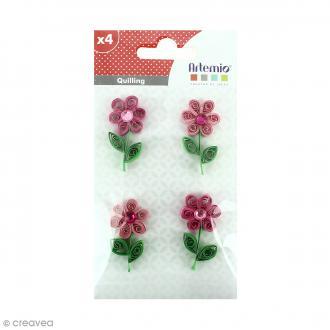 Stickers Quilling - Fleur avec brillant - Coloris Rose - 4 pcs
