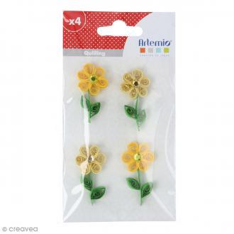 Stickers Quilling - Fleur avec brillant - Coloris Jaune - 4 pcs