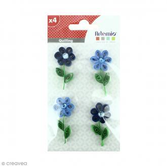Stickers Quilling - Fleur avec brillant - Coloris Bleu - 4 pcs