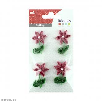 Stickers Quilling Fleur avec perle - Rose - 4,4cm - 4 pcs