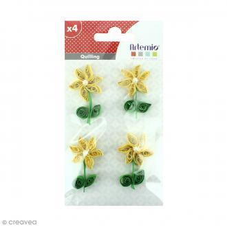 Stickers Quilling Fleur avec perle - Jaune - 4,4cm - 4 pcs