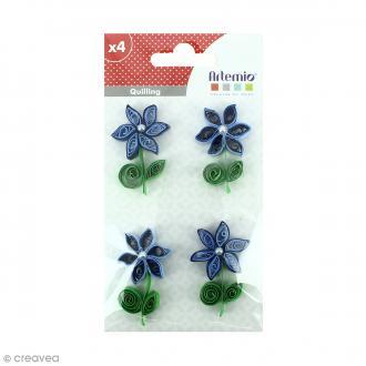Stickers Quilling Fleur avec perle - Bleu - 4,4cm - 4 pcs