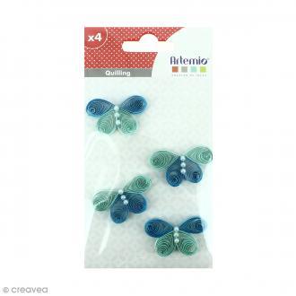 Stickers Quilling Papillon - Bleu - 3,7 cm - 4 pcs