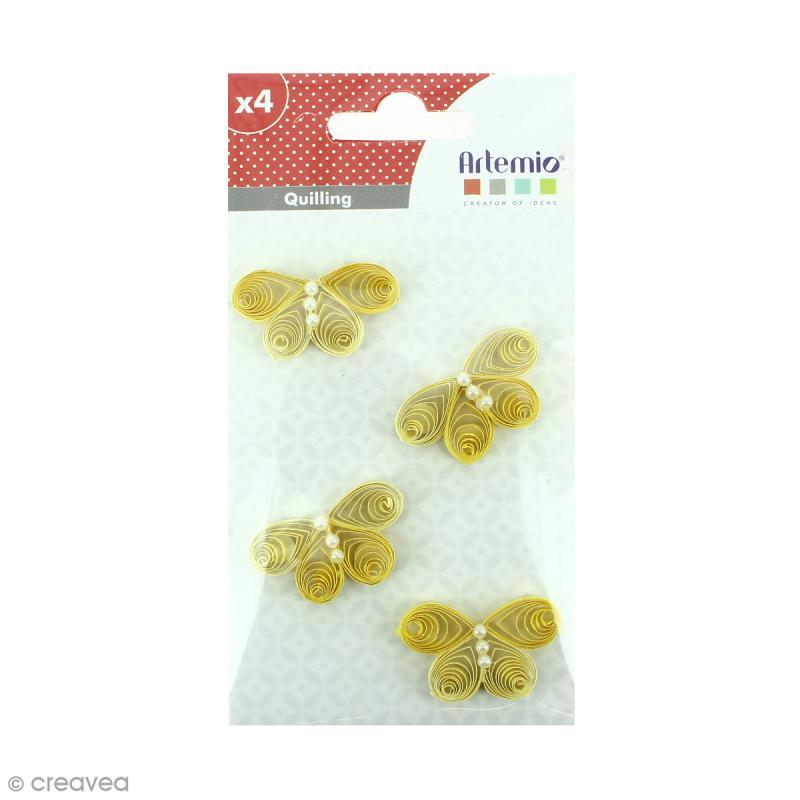Stickers Quilling Papillon - Jaune - 3,7 cm - 4 pcs - Photo n°1