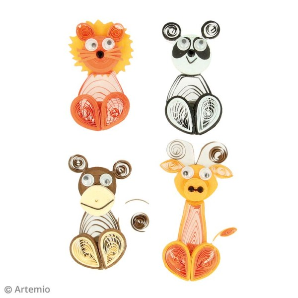 Stickers Quilling Animaux sauvages - 4,5 cm - 4 pcs - Photo n°2