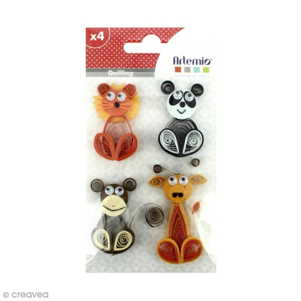 Stickers Quilling Animaux sauvages - 4,5 cm - 4 pcs - Photo n°1